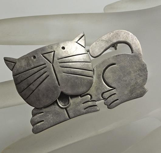 Mexican Sterling Silver Cat Pin Adorable!