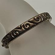 ZINA Sterling Silver Bangle Bracelet Hinged Modernist Wave Design