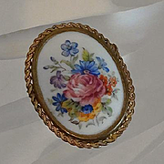 Vintage Limoges France Porcelain Brooch Pin Hand Painted Roses Flowers