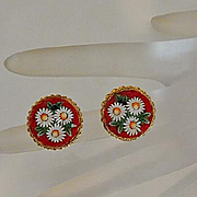 Vintage Italian Micro Mosaic Earrings Vibrant Red with Daisies