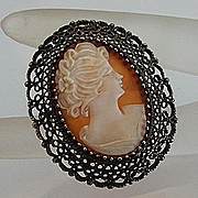 Vintage Sterling Silver Filigree Shell Cameo Pin Pendant C1940s KL