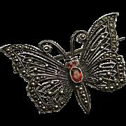 Vintage Sterling Silver Marcasite Garnet Butterfly Brooch Pin