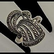 Vintage Signed Judith Jack Marcasite Sterling Silver Ring Size 6