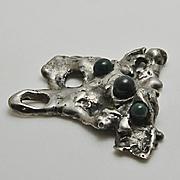 Vintage Mid Century Brutalist Amorphic Modernist Jade Sterling Silver  Pendant