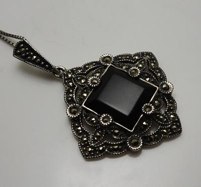 Sterling Silver Marcasite Onyx Judith Jack Necklace Pendant