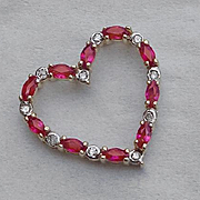 14K Gold Ruby Diamond Slider Heart Pendant