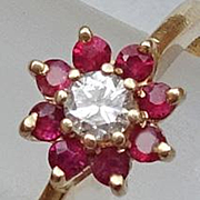 14K Gold Jaylen Ruby Diamond Flower Ring JUST REDUCED!