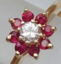 14K Gold Jaylen Ruby Diamond Flower Ring JUST REDUCED!