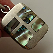 Modernist Taxco Mexican Sterling Silver Abalone Inlaid Pendant