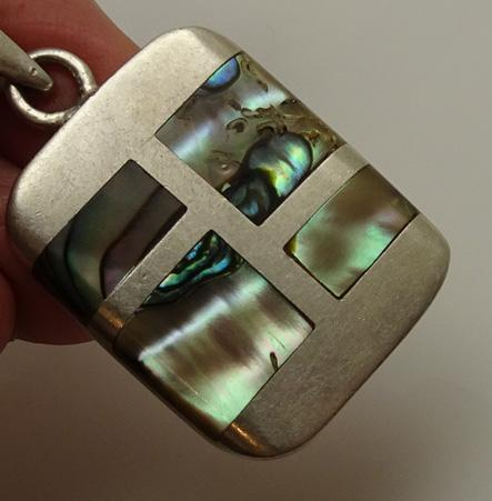 Modernist Taxco Mexican Sterling Silver Abalone Inlaid Pendant JUST REDUCED!