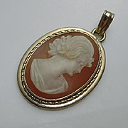 Vintage Van Dell 12 K Gold Filled Shell Cameo Pendant JUST REDUCED!