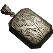 Vintage Etched Sterling Silver Rectangular Locket Pendant