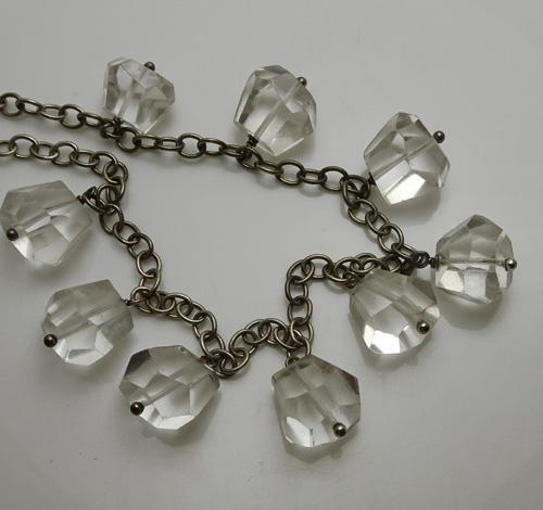 Vintage Sterling Silver  Crystal Drop Necklace