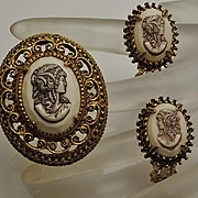 Vintage Florenza Victorian Revival Cameo Pin Earring Set