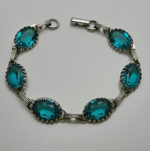 Vintage Sterling Silver Aqua Blue Green Glass Bracelet