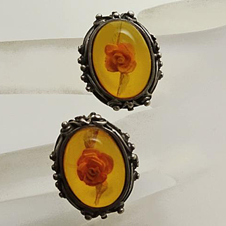 Vintage Sterling Silver Amber Reserve Carved Flower Clip On Earrings