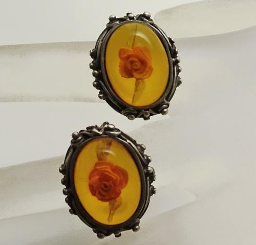 Vintage Sterling Silver Amber Reserve Carved Flower Clip On Earrings