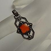 Petite Vintage Sterling Silver Art Deco Carnelian Necklace Pendant