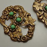 Vintage Art Nouveau  Flower Sash Pin Set!