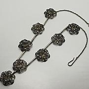 Antique Sterling Silver Cannetille Filigree Flower Necklace