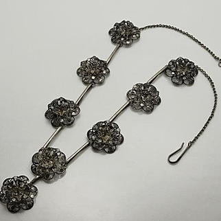 Antique Sterling Silver Cannetille Filigree Flower Necklace