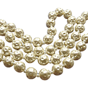 Vintage Miriam Haskell Faux Dimpled Pearl Necklace Clasp and Hang Tag