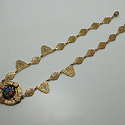 Antique Etruscan Flower Glass Necklace