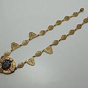 Antique Etruscan Flower Glass Necklace