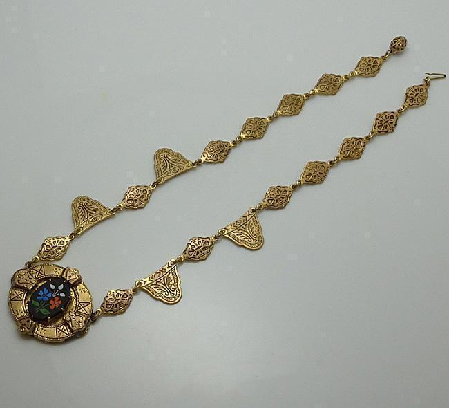 Antique Etruscan Flower Glass Necklace JUST REDUCED! Hold For Hanna