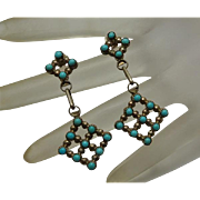 Long Native American Indian Sterling Silver Pettipoint Turquoise Earrings