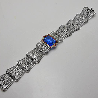 Vintage Art Deco Filigree Enamel Blue Glass Bracelet