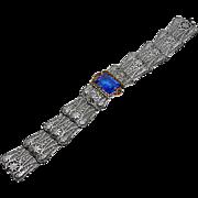 Vintage Art Deco Filigree Enamel Blue Glass Bracelet