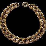 Antique Victorian Gold Filled Ornate Curb Link Bracelet