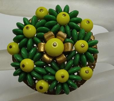 Vintage Beaded Green Yellow Dress Clip Pin