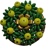 Vintage Beaded Green Yellow Dress Clip Pin