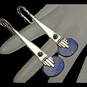 Long Lapis Coral Sterling Silver Earrings