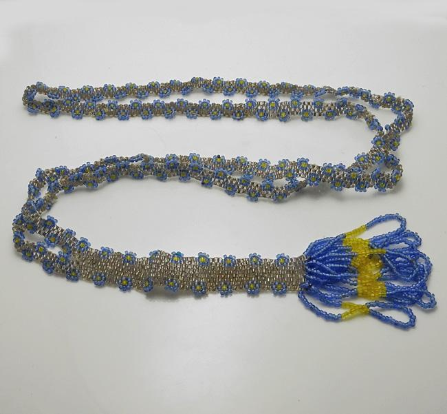 1920s Vintage Flapper Beaded Sautoir Necklace Blue Yellow Gray