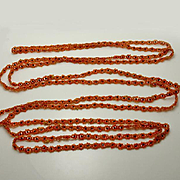 1920s Vintage Flapper Beaded Flower Necklace Orange Black 96 Inches! JUST REDUCED!
