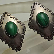Big Carol Felley Sterling Silver Malachite  Earrings 1989