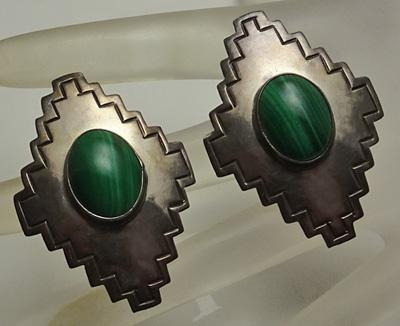 Big Carol Felley Sterling Silver Malachite  Earrings 1989 JUST REDUCED!
