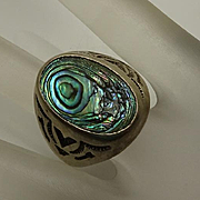 Vintage Chunky Bell Trading Company Sterling Silver Abalone Southwestern Ring Mens Size 11