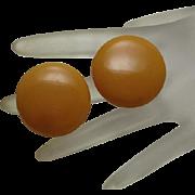 Big Vintage Bakelite Clip On Button Earrings Butterscotch