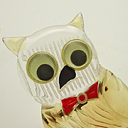 Vintage 1940s Large Carved Lucite Owl Pin Googly Eye JUST REDUCED!