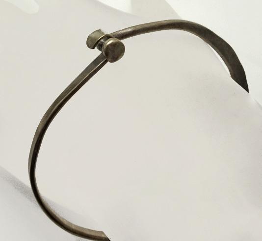 Vintage Mid Century Hand Made Artisan Modernist Sterling Silver Bracelet