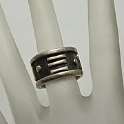 Vintage Sterling Silver Modernist Mexican Ring Size 5