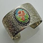 Vintage Embossed Floral Flower Cuff Bracelet