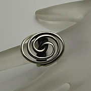 Modernist Abstract Swirl 950 High Grade Sterling Silver Ring JUST REDUCED!