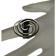 Modernist Abstract Swirl 950 High Grade Sterling Silver Ring