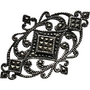 Vintage Marcasite Sterling Silver Pin