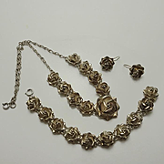 Mexican Sterling Silver Rose Necklace Bracelet Earrings Set Parure
